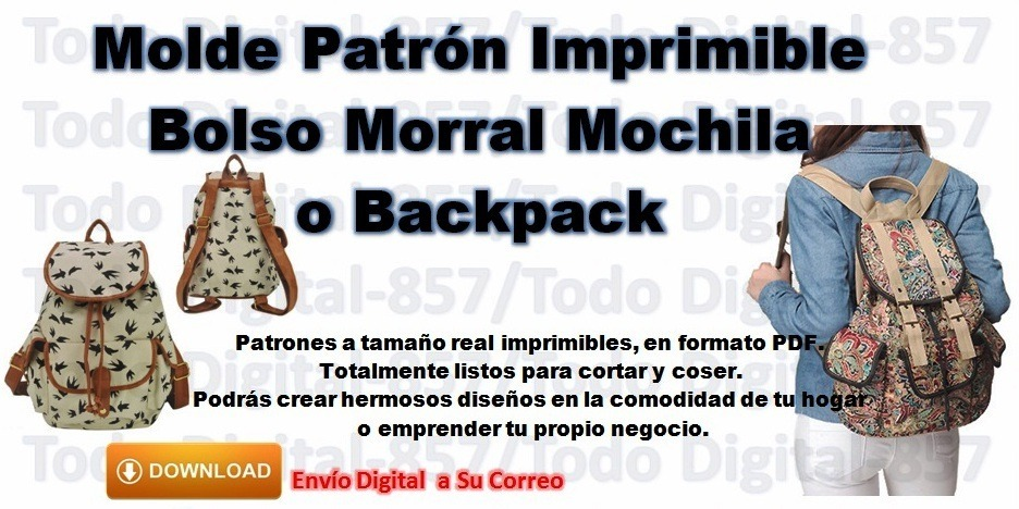 Molde Patron Imprimible Bolso Mochila Morral O Backpack - Bs. 60,00 ...