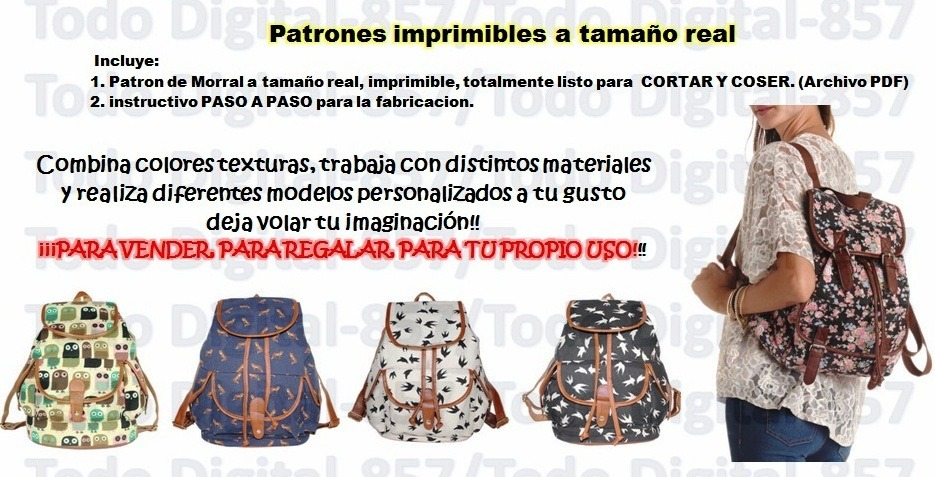 Molde Patron Imprimible Bolso Mochila Morral O Backpack - Bs. 2.000 ...