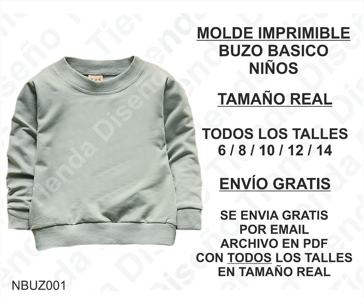 Molde Patron Imprimible Buzo Basico Niños Talles6/8/10/12/14 - $ 50 ...