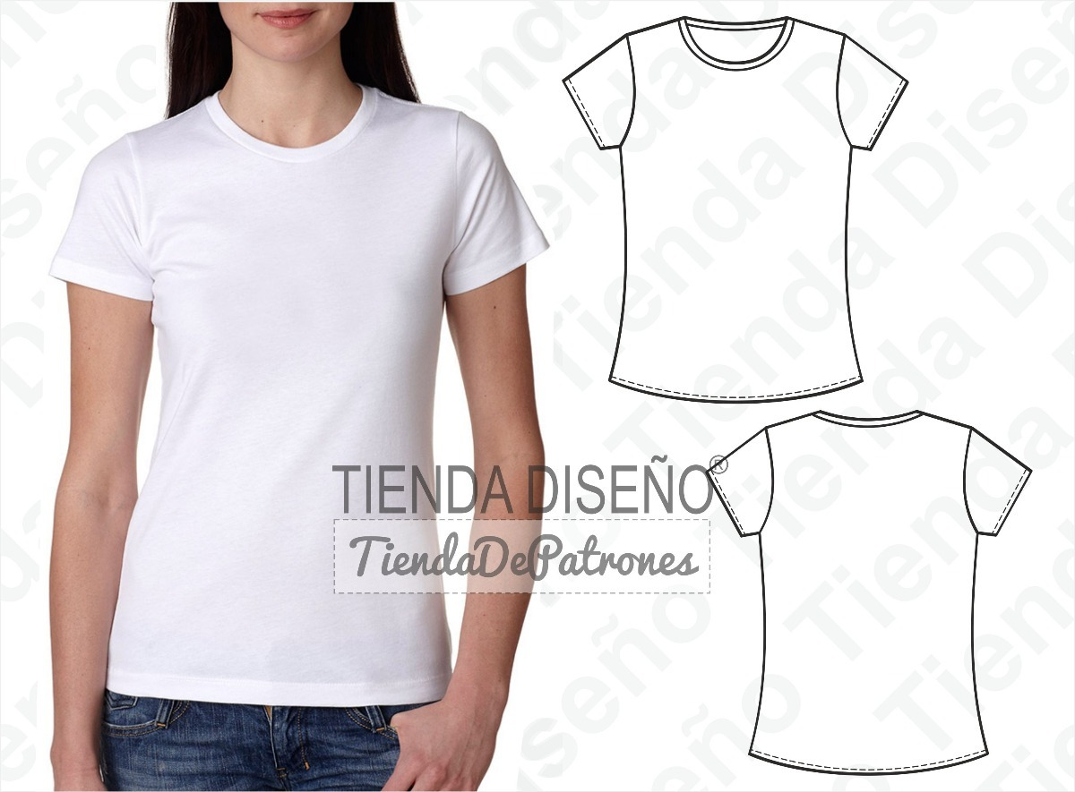 Molde Patron Imprimible Remera Basica Mujer Talles Xs Al 2xl - $ 50 ...