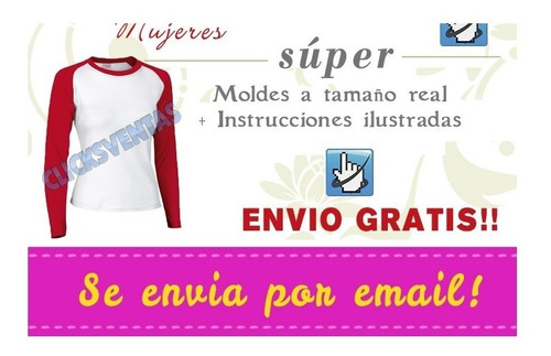 molde patron imprimible remera basica mujer talles xs al 2xl