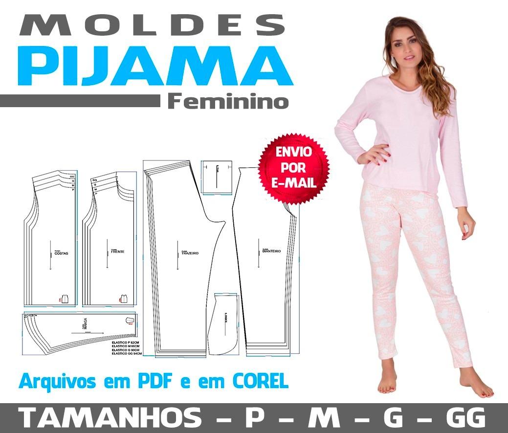 7cc2e490a Molde Pijama Feminino Em Corel E Pdf - R  18