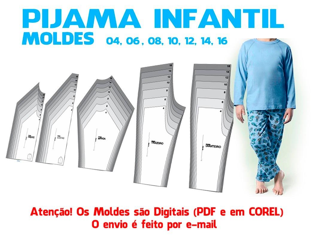 eb7d2c924 Molde Pijama Infantil Em Corel E Pdf - R  17