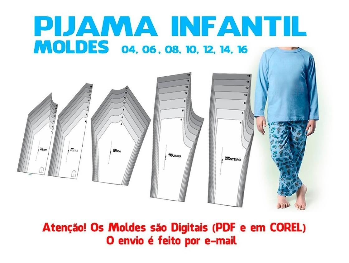 Molde Pijama Infantil Em Corel E Pdf Envio Por Email R 17 88