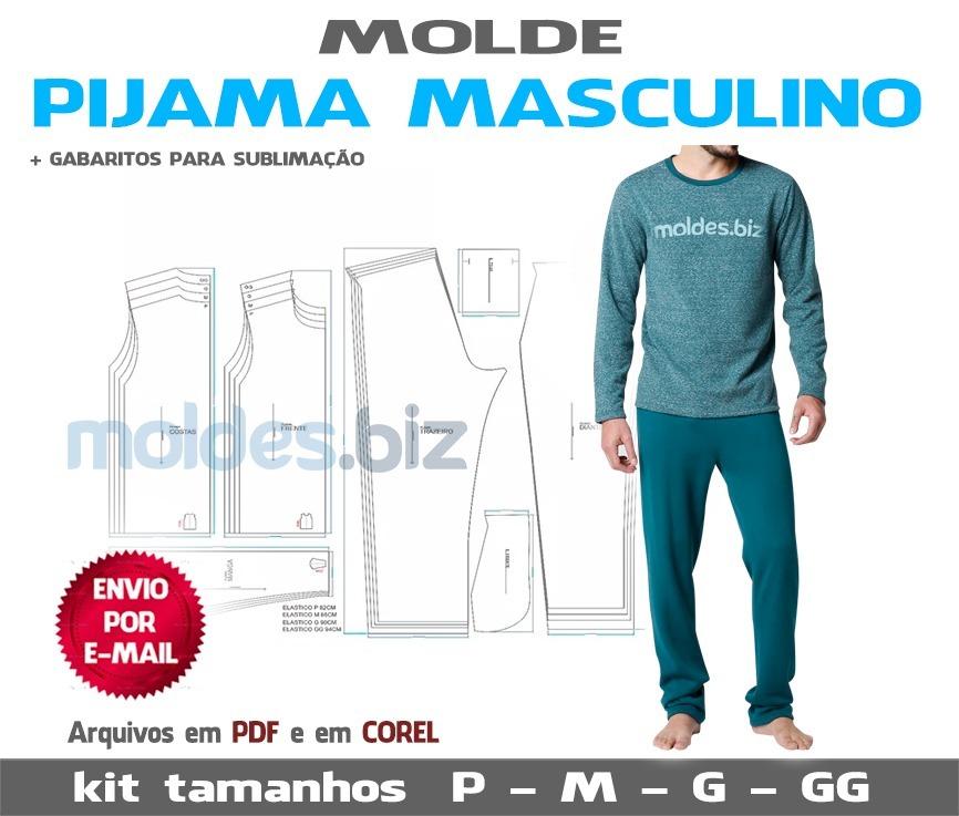 e4b9b6140 Molde Pijama Masculino Inverno- (envio Por Email) Pdf E Cdr - R  18 ...