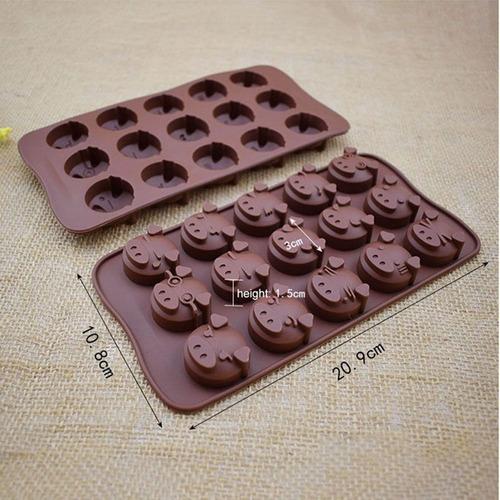 *molde silicon 15 cerditos emojis hielo jabon choco fondant