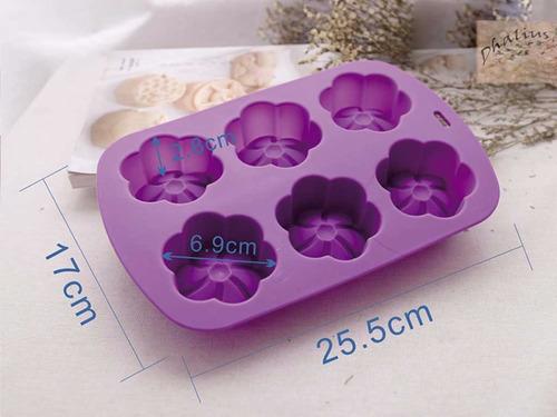 molde silicon flor 6 petalos - repostería velas jabon