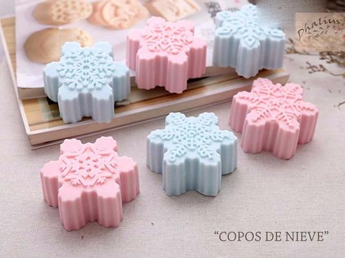 molde silicon navidad copos nieve - jabon reposteria velas