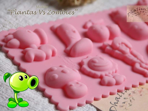 molde silicon plantas vs zombies confiteria chocolate gomita