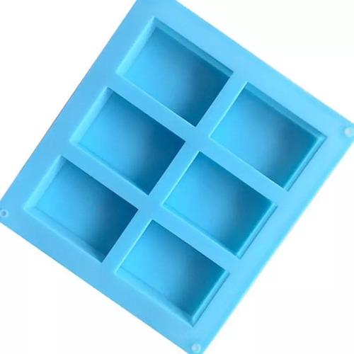molde silicon rectangular 6 cavidades color azul