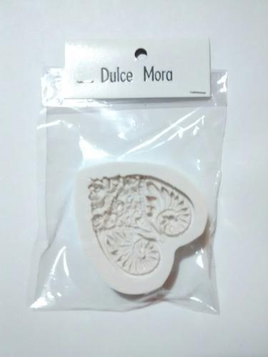 molde silicona corazón para porcelana fría