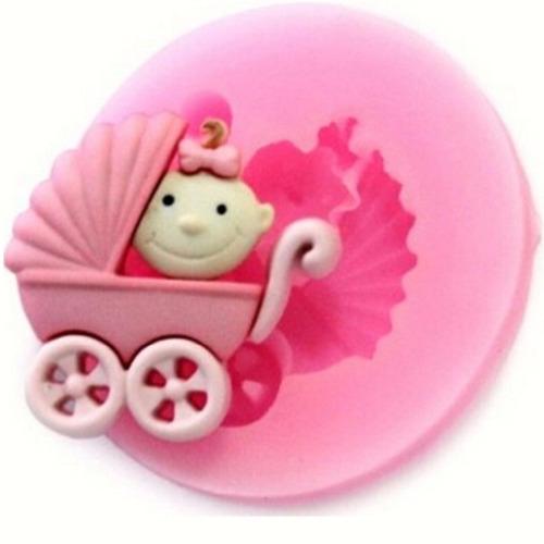 molde silicone carro bebê p/ biscuit pasta americana bolos