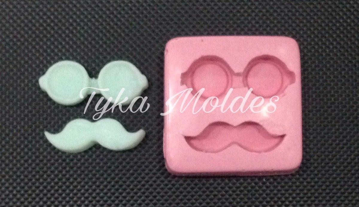 00aa9eeff Molde Silicone Oculos E Bigode Sabonete Vela Biscuit Resina - R  25 ...