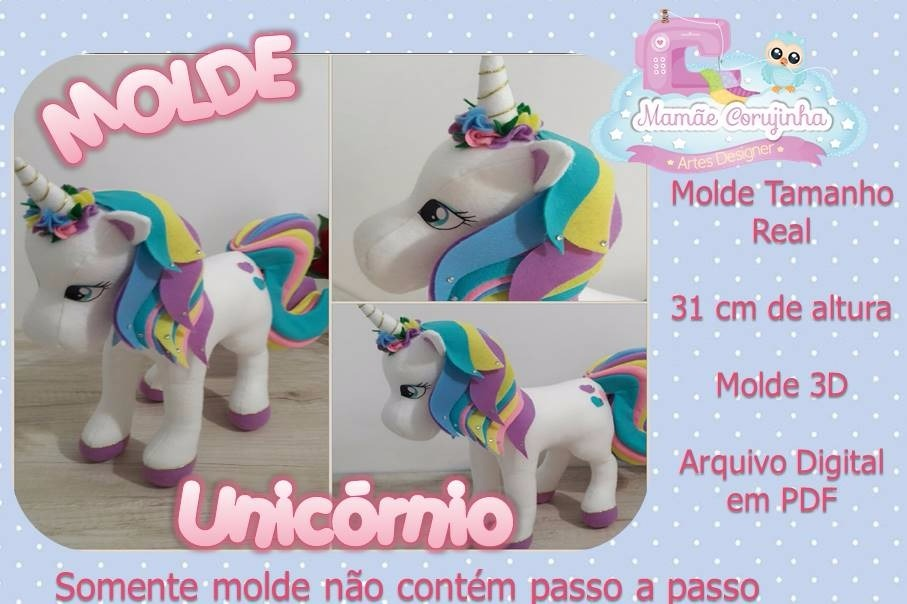 Molde Unicornio Em Feltro Costurado Na Maquina R 27 90 Em
