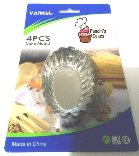 moldes ovalados para tartaletas de acero inoxidable 4 piezas