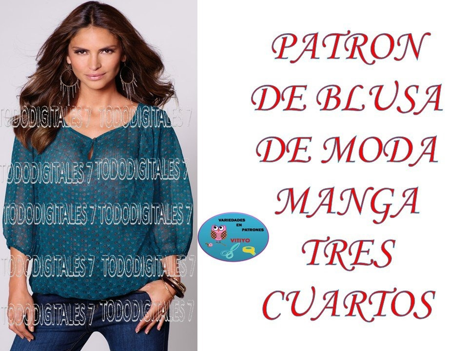 Moldes Patron De Blusa De Moda Mangas Tres Cuartos Mujer - $ 125.00 ...