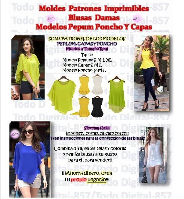 Moldes Patrones Imprimible Blusa Dama Pepum Poncho Y Capa2x1 - $ 41 ...