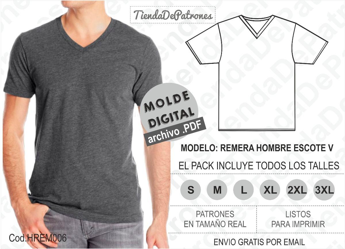 Moldes Patrones Polera Básica Hombre Escote V Del S Al 3xl - $ 1.200 ...
