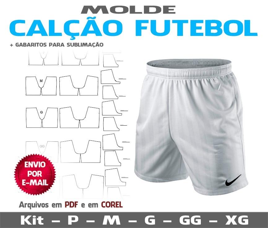44a8a97f4e Moldes Short Com Forro Para Futebol - R  17