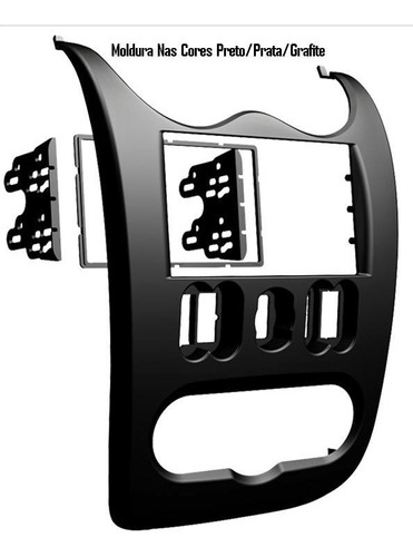 moldura de painel dvd 2 din multimídia sandero 2007