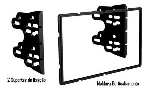 moldura de painel dvd 2 din multimídia  sandero 2011 prata
