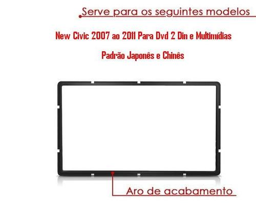 moldura de painel new civic 2007/08/09/10/11 duplo din dvd