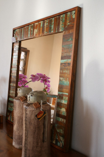 moldura espelho 1,00 x 1,00 peroba rosa de demolição ripinha