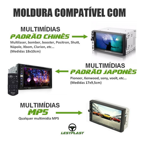 moldura painel central radio astra 2 din mp5 com a/c digital