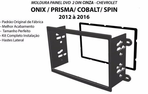 moldura painel dvd 2din gm onix cobalt prisma spin cinza