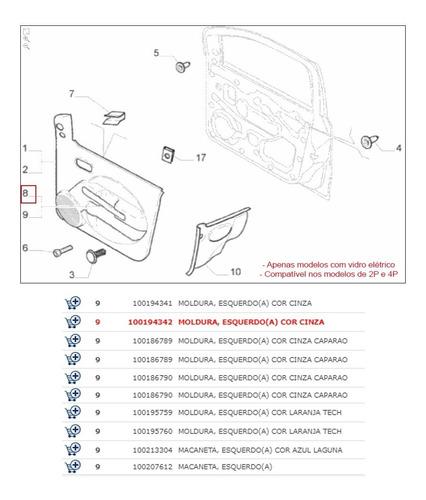moldura puxador uno vivace dianteira vidro elétrico 11 a 14