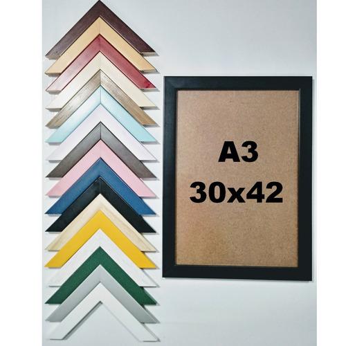 moldura quadro a3 em madeira envernizada com vidro