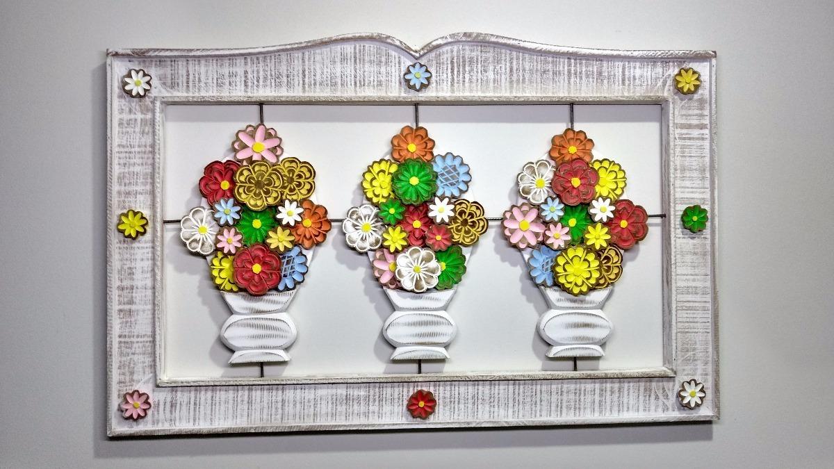 Artesanato Com Tecido De Chita ~ Moldura Quadro Artesanal Em Madeira Com Vasos De Flores R$ 299,00 em Mercado Livre