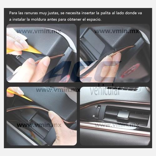 moldura vista decorativa brilla metálica auto interior 5m
