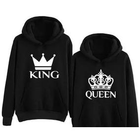 47e17c0d626a3 Conjunto Moletom Canguru Kit 2 Blusas Casal King Queen Coroa