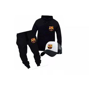 d6d05e3c41d62 Blusa Moletom + Calça + Boné Esporte Conjunto Barcelona
