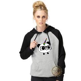 3fc5b0884 Blusa Moletom Panda Unicórnio Óculos Moleton Raglan  unc 11