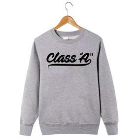 33ee85bd0 Moletom Gola Redonda Class A Rap Blusa De Frio - Cinza
