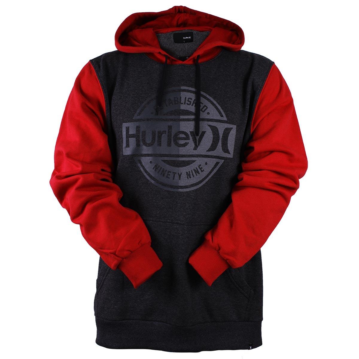 5ca359f717808 Moletom Hurley Ninety Nine Cinza vermelho-gg - R  199