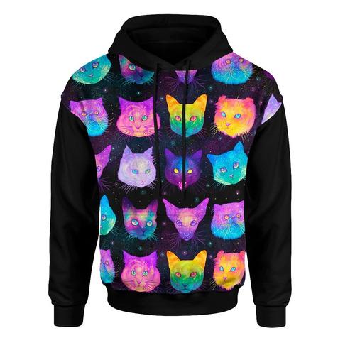 moletom roupa canguru unissex casaco 3d ful gato psicodelica