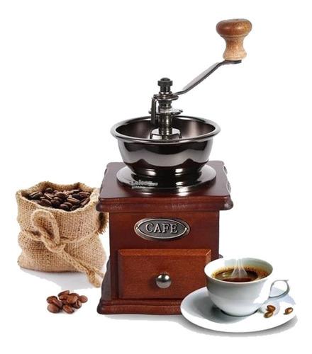 molinillo de cafe manual de acero y madera moledor granos