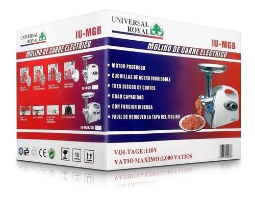 molino carne electrico universal royal reversible 2000 watts