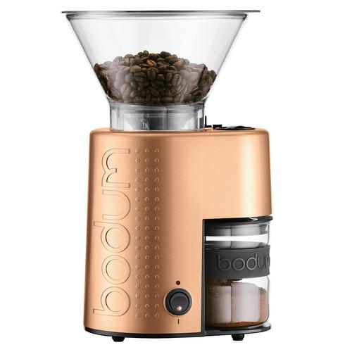 molino de café eléctrico con cuchillas bodum bistro, cobre