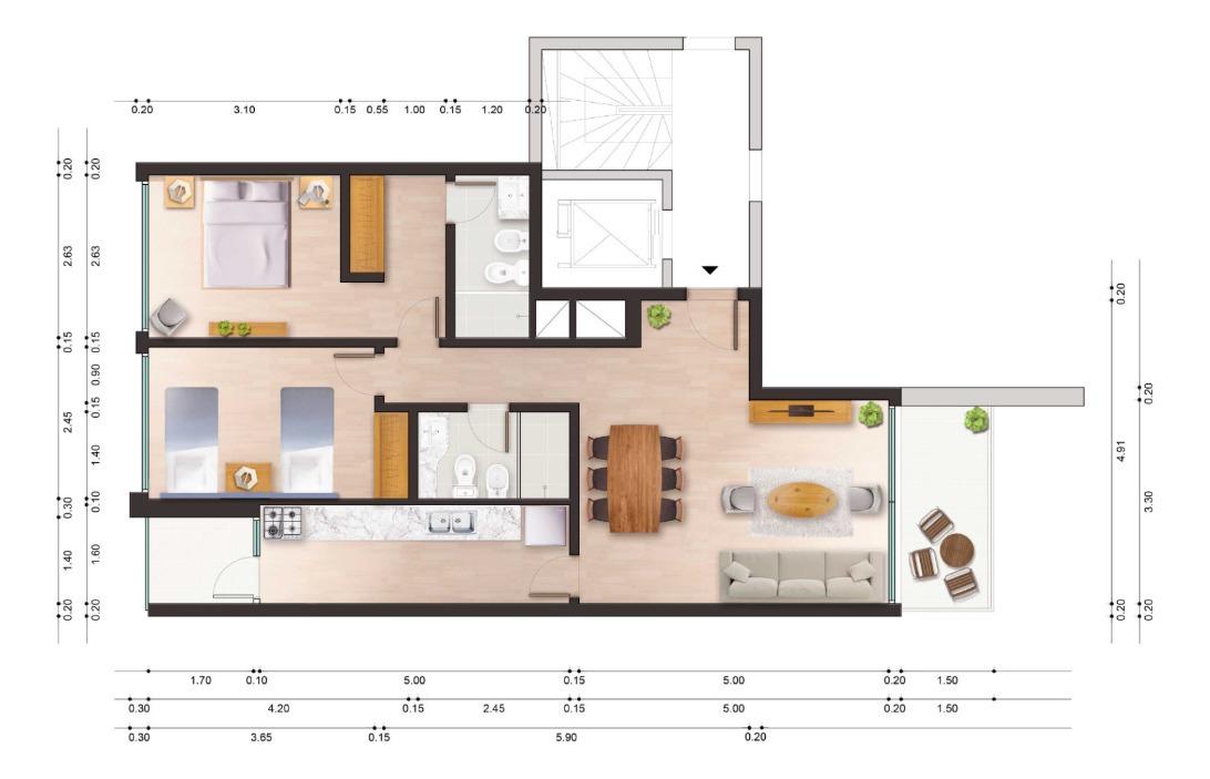 molino del parque, venta traspaso apartamento 2 dormitorios