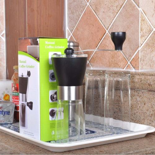 molino manual para cafe base de vidrio, barista, cafe