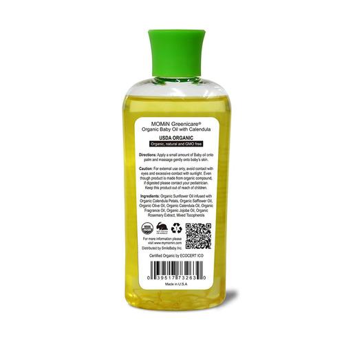 momin usda organic baby oil, con la flor del calendula pétal