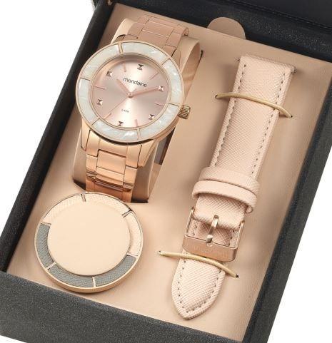 348f26955ca Relógio Mondaine Feminino Troca Pulseiras Rose 99265lpmvrs3 - R  299 ...
