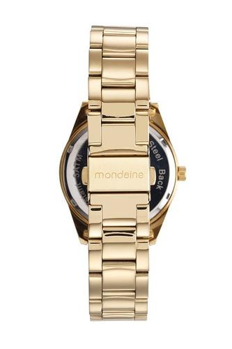 mondaine kit relógio conjunto de semijóias dourado