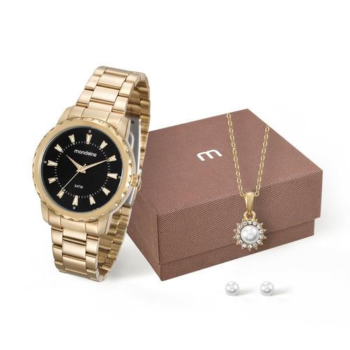 mondaine kit relógio e conjunto semijóias dourado