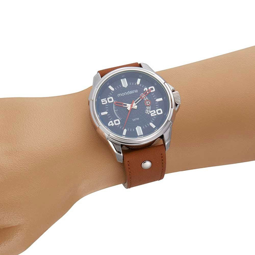 mondaine relógio calendário rebite na pulseira marrom