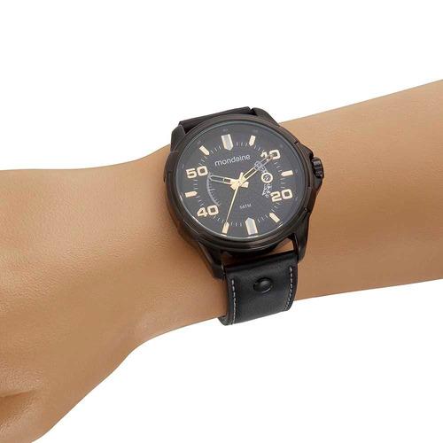 mondaine relógio calendário texturizado rebite preto